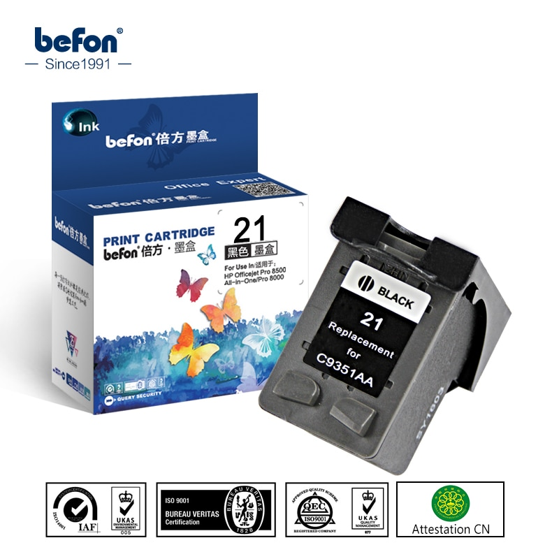Befon Kompatibel 21 Schwarz Tinte Patrone Ersatz für HP 21 22 HP21 für Deskjet F2280 F4180 F4100 F2100 F2200 F300 f380 D2300