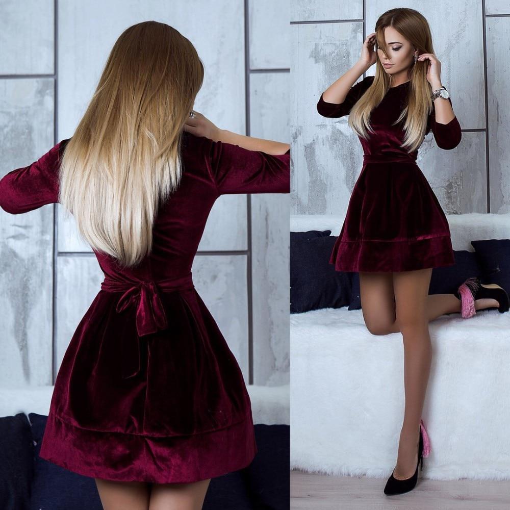 High Quality New Autumn Fashion Women Warm Winter Casual O -Neck Black Pink Dresses Loose A -Line Mini Velvet Dress Vestidos