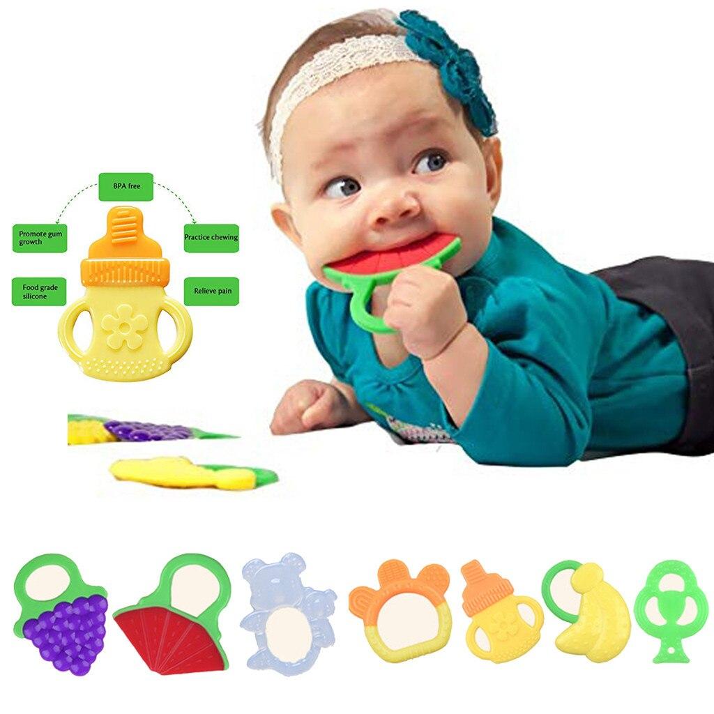 Toddlers Infants Baby Teething Toys Soft Silicone Fruit Cadeau Naissance Holder Chupeta Boneco Lucas Neto Naissance Bebes