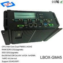 Mini PC industriel de magasin dusine avec 6 xCOM 1 xHDMI 2 * LAN couleur noire Intel Core P8600 ordinateur industriel de processeur