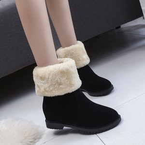 women mid-calf boots warm fur boots fashion low flat heel  women snow boots winter shoes shoes thick heel turned over edge shoes