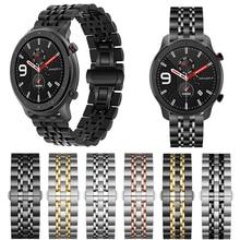Bracelet en métal pour Xiaomi Huami Amazfit GTR 47mm 42mm Bracelet en acier inoxydable pour Amazfit Bip lite/Stratos 2 2 S/Bracelet de rythme