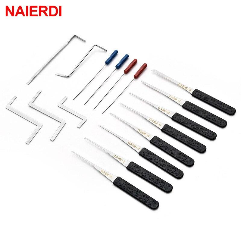 NAIERDI 17PCS Locksmith Tool Supplies Broken Key Remove Auto Extractor Set Lock Pick Hardware Stainl