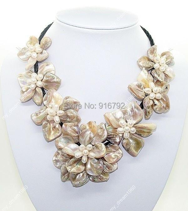 "YH @ CS> COLLAR COLGANTE de 7 flores de concha de perlas blancas de marfil Natural de 18"""