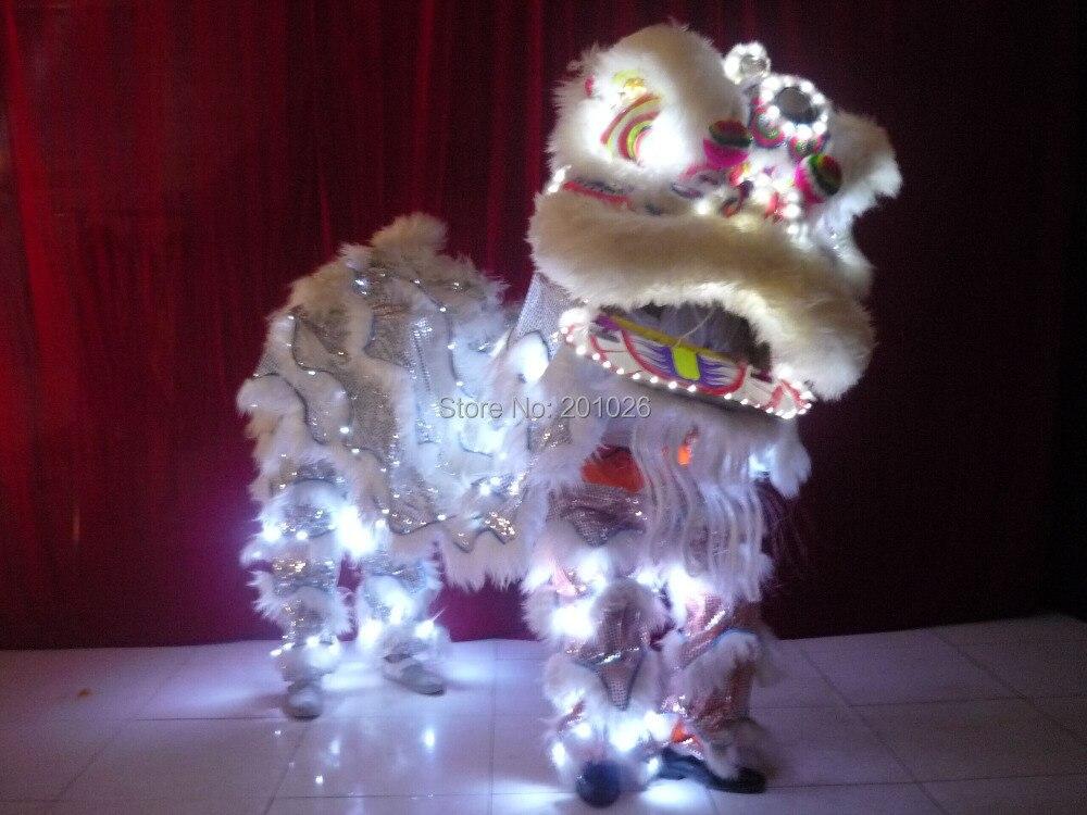 Traje de danza del león blanco iluminante de alta calidad con luces Led, lana sureña pura, tamaño de León adulto