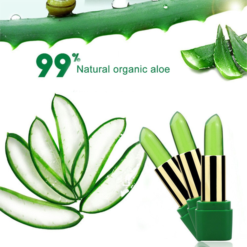 1Pc Lips Care 99% Aloe Vera Lip Balm Color Change With Temperature Jelly Lipstick Plant Moisturizing Base Makeup Lipstick TSLM2