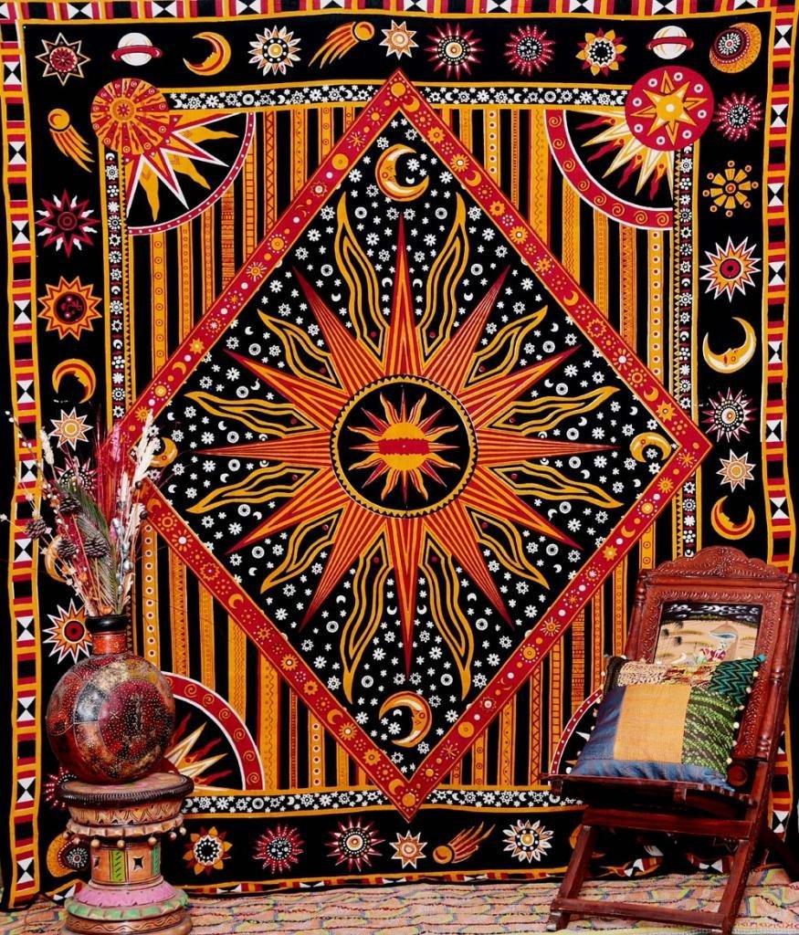 Tapiz de CAMMITEVER Apolo, tapiz para colgar en la pared, cortina Bohemia, manta geométrica decorativa India