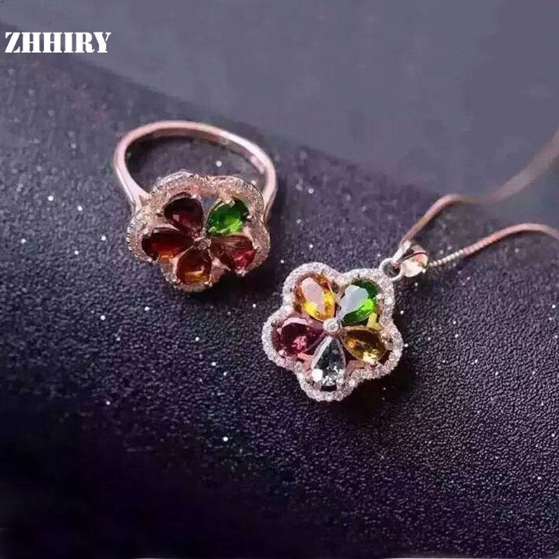 ZHHIRY الطبيعي التورمالين الأحجار الكريمة مجموعة مجوهرات حقيقية 925 الصلبة فضة المرأة خاتم و قلادة قلادة مجموعات غرامة جوهرة