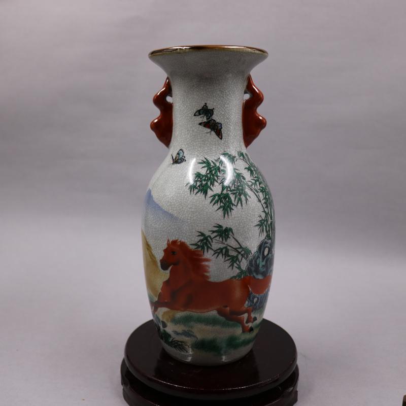 Jarrón de doble oreja con pintura china antigua de porcelana