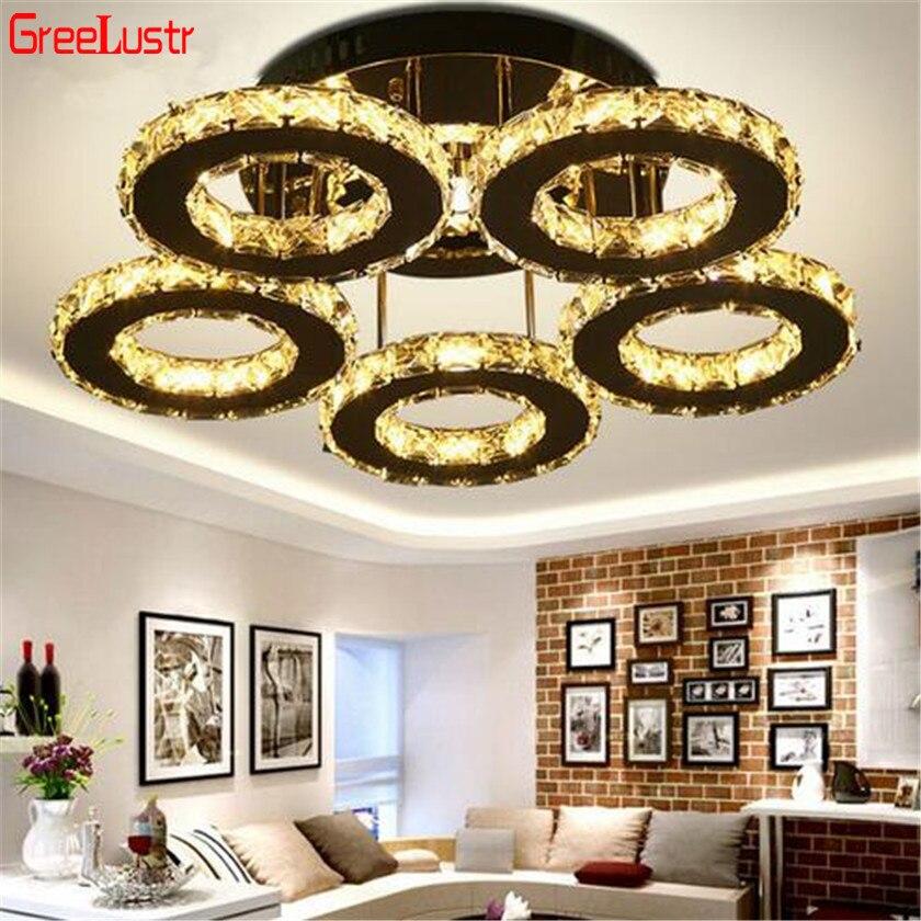 Anéis de cristal luzes teto lâmpada moderna luminária teto plafonnier para sala estar led lustres interior decoração da sua casa luzes