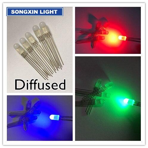 100 Uds 5mm 4 pines RGB LED ánodo común tricolor diodos emisores difusos 5MM full-Color LED RGB rojo/verde/azul