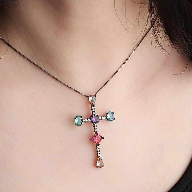 2019 nova cruz de cobre pingente colar colorido zircônia cúbica preto branco moda colares para mulheres jóias 2019 instrução