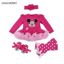 Minnie Bebe Lace Petti Romper Jurk Beenwarmers Crib Schoenen Hoofdband 4 stks Baby Meisje Tutu Set Peuter Verjaardag Outfits Kids kleding