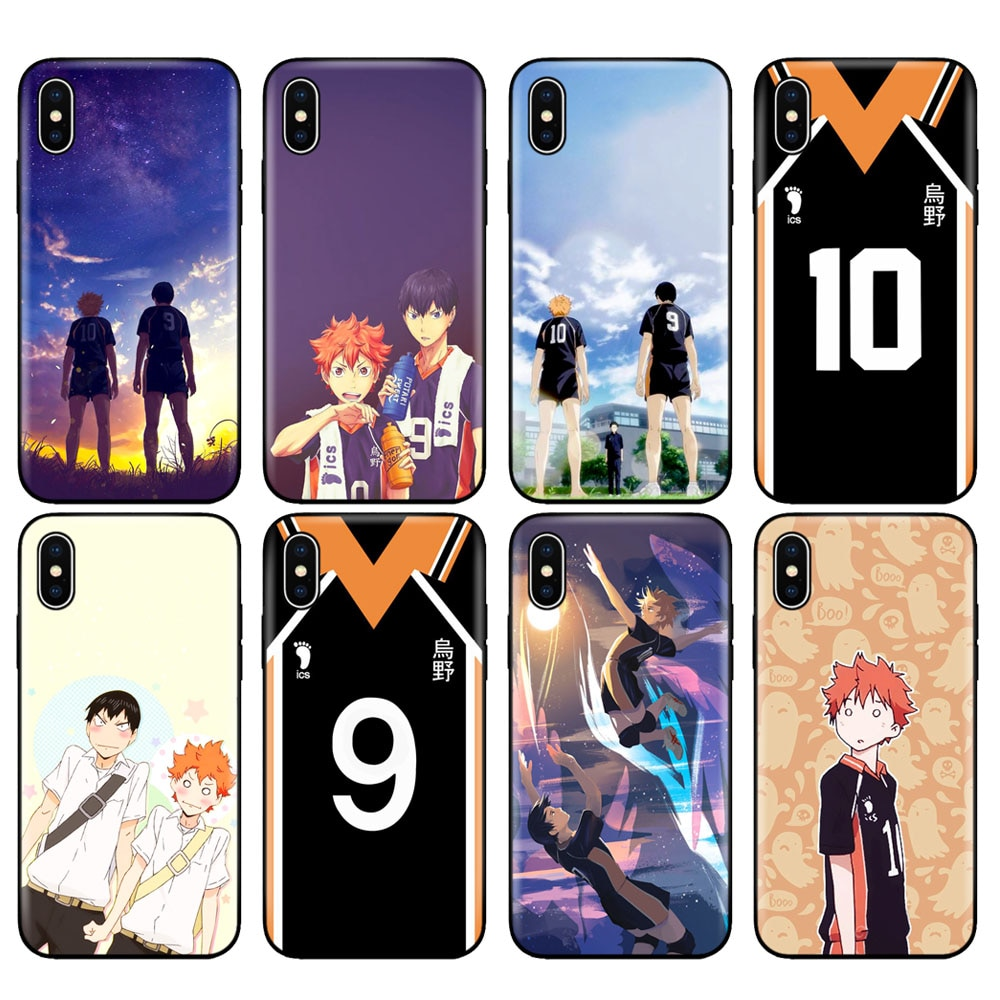 Negro tpu caso para iphone 5 5s SE 2020 6s 6 7 8 plus x 10 XR XS 11 pro MAX caso Tee Hinata Anime Manga uniforme de voleibol