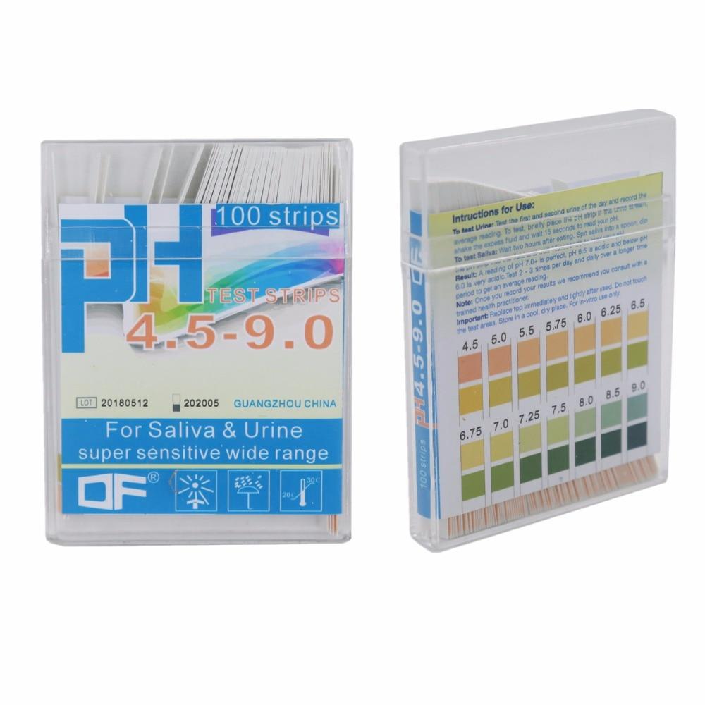100 tiras/caja 4,5-9,0 de dos colores de precisión PH ácido humano prueba de saliva orina Preparación de papel 20% de descuento