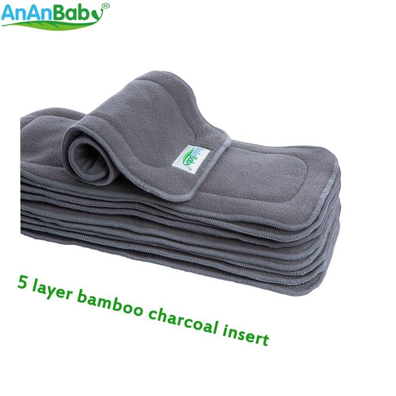 Ananbaby 5 unids/lote 5 inserciones de carbón de bambú de 5 capas insertos cómodos para pañales de salud tamaño 35cm x 14cm