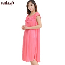 Fdfklak L XL XXL Plus Size 2018 New Summer Nightgowns Sexy Women's Dressing Gown Long Womens Nightgowns Silk Nightgowns Q519