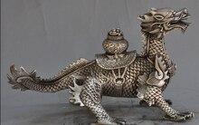 Décoration magasins dusine en laiton Tibet   Décoration, argent chine argent fengshui tête de dragon Kirin bête richesse chance trésor statue bol