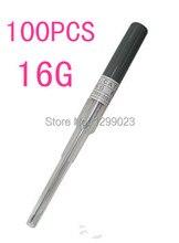100pcs pack Pro Sterilized Body Piercing Needles I.V Catheter 16G Gauge FREE SHIPPING
