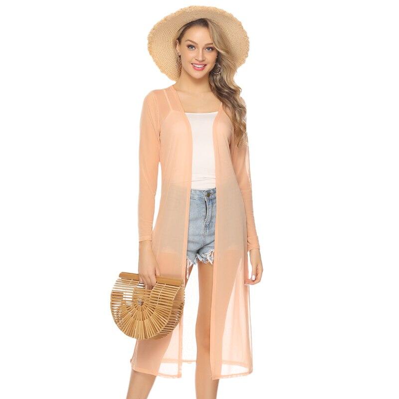 Abollria, cárdigan largo para mujer, moda Primavera Verano 2019, Kimono recto, blusa, playa, vacaciones, cárdigan para mujer