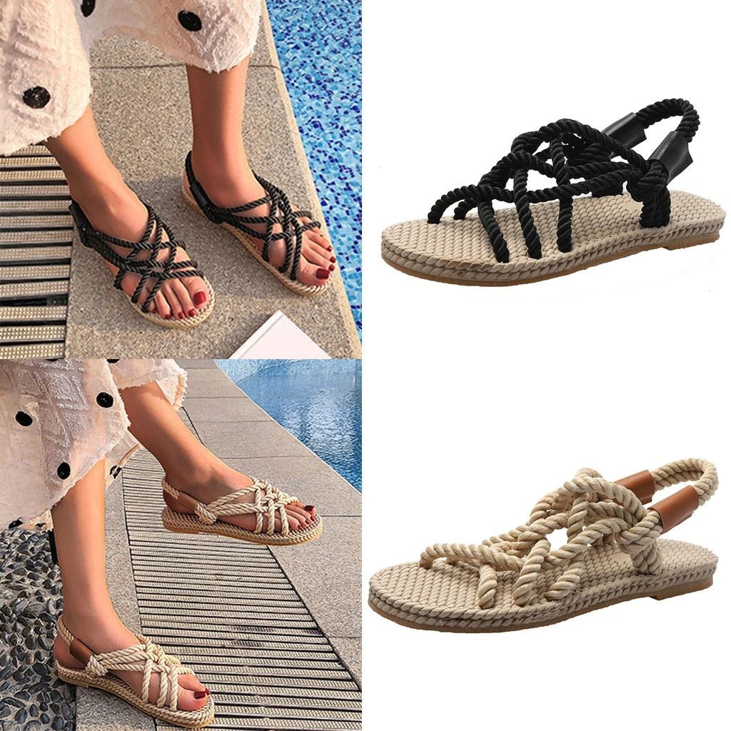 Sandálias de Verão Casuais das mulheres Tiras de Moda Estilo Romano Cabeça Redonda Feminino Macio Senhoras Chaussures Sapatos Baixos Praia D9 #