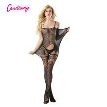 Candiway مثير ليوبارد الملابس الداخلية الجسم scoking جاكار نسج شبكة جوارب الجوارب catsuit bodystocking غمد