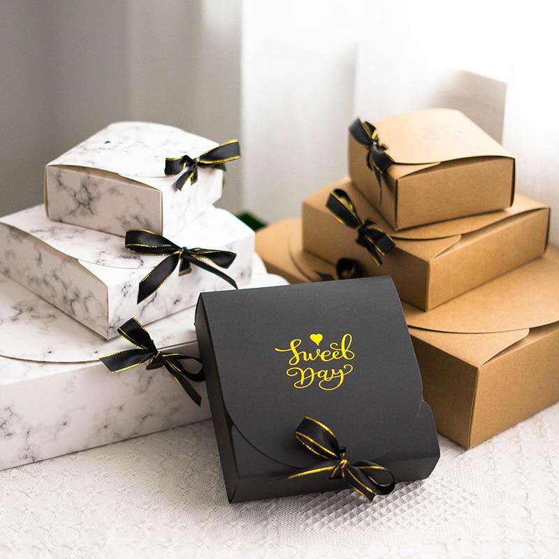 1 шт. креативный Простой Мраморный Стиль Подарочная коробка креативная крафт-бумага DIY Подарочный пакет конфеты коробка kawaii Вечерние принадлежности