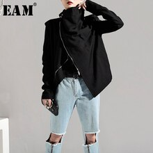 [EAM] 2020 New Spring Autumn Stand Collar Long Sleeve Brief Zipper Personality Loose Short Jacket Women Coat Fashion Tide JI1020