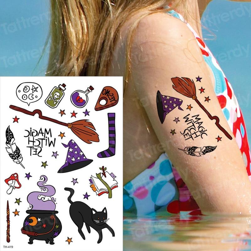 זמני קעקוע ילדי הארי זמני קעקועים ליל כל הקדושים קעקוע פנים מדבקות עמיד למים ילדים cartoon קעקוע קטן יד tatto