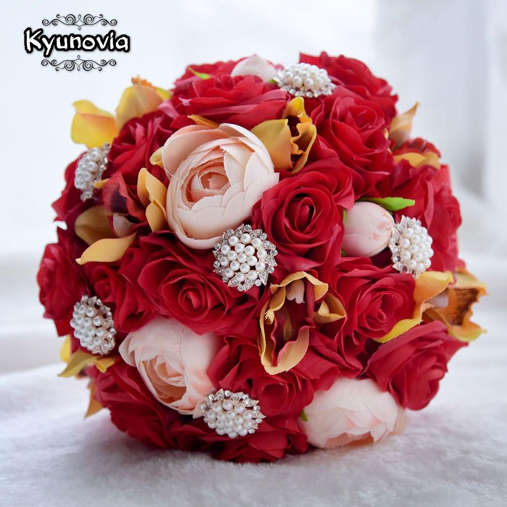 Ramo de rosas rojas de seda de la Camelia de la boda de Kyunovia, ramo de novia, ramo de novia, centro de mesa de boda, flor, ramo de novia FE56