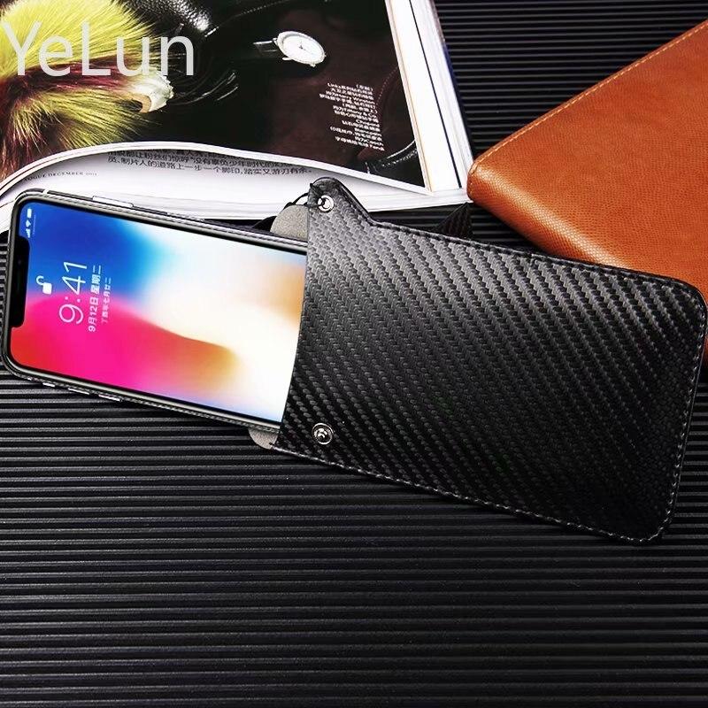Para Huawei Honor 7C AUM-L41/Honor 7C de lujo de fibra de carbono de cuero de microfibra de manga súper delgada bolsa de teléfono cubierta cordón