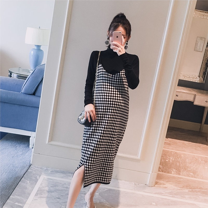 5060 #2 unids/set negro de punto de maternidad camisa de fondo + Sling Plaid vestido de Otoño de moda coreana para mujeres embarazadas