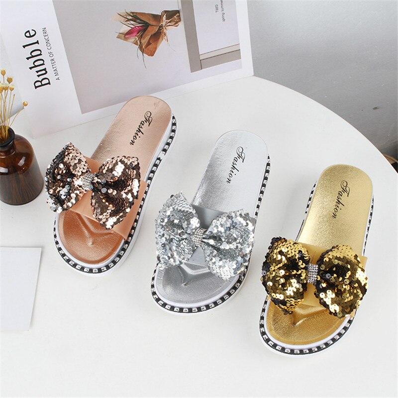 bling bling butterfly-knot open toe platform sandals women soft bottom all-match slides summer student beach shoes woman slipper