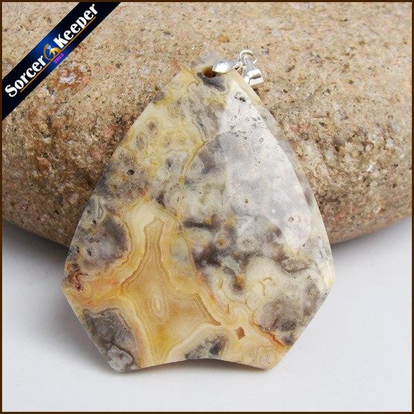 Colgante de piedra natural de moda Crazy Lace Rosetta Agates cabujón cuentas colgantes para collar diy joyería accesorio HS842