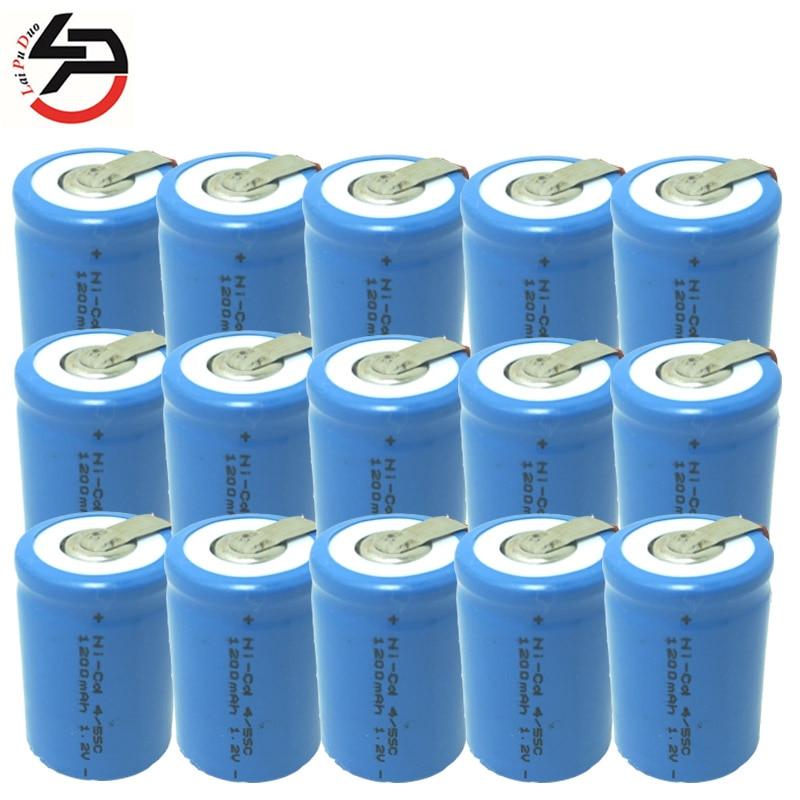 Batería 4/5 SC, batería 4/5 SubC, baterías recargables, pila 1,2 V 1200mAh, Banco de energía ni-cd 4/5SC, paquete de 15