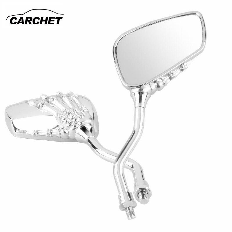 CARCHET espejos retrovisores laterales universales para motocicleta par de cromo esqueleto mano con calavera garra 8mm 10mm espejo retrovisor para moto
