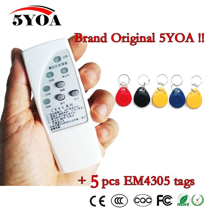 4 частоты RFID копировальный аппарат считывающее записывающее программирующее устройство + 5 шт. EM4305 T5577 перезаписываемые идентификационные брелоки бирки карта