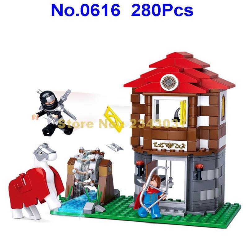 sluban 0616 280pcs assassin legend medieval water wheel treasure knights horses building block Toy