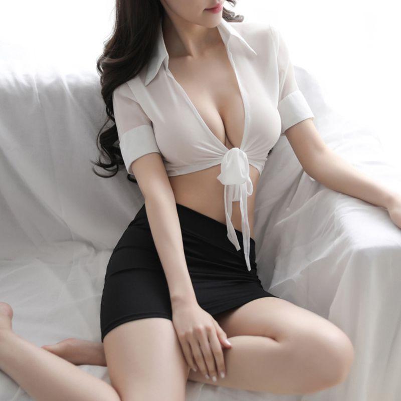 Womens Erotic Cosplay Lingerie Set Secretary Uniform Office Costume Tops Skirt
