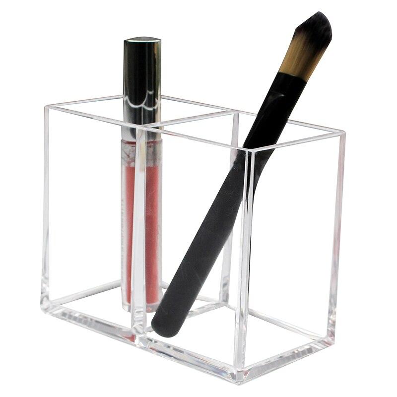 Nueva Claro 2 ranuras Caja de almacenaje para brochas de maquillaje soporte de brocha Cosmética Maquillaje cepillo organizador colección de plástico pluma lápiz titular