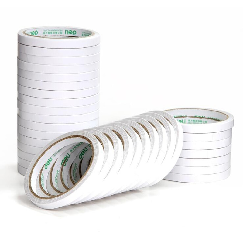 Tape Sponge Double-Sided Tape White Double-Sided Adhesive 9mm*9.1m Wide Durable Two-Sided Tape School Office Stationery double sided cotton paper tape 12mm 9 1m white hot melt cotton paper tape home double sided adhesive school office stationery