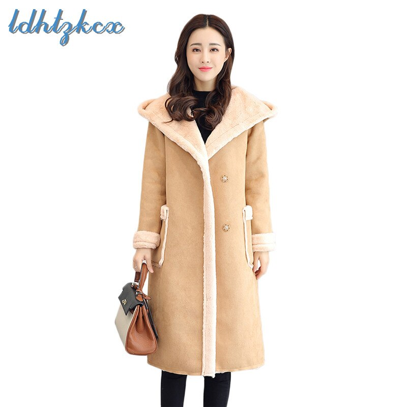 LDHTZKCX Color sólido de gran tamaño de manga larga con capucha Parkas mujer 2018 invierno nuevas señoras elegantes solo pecho de lana LD546