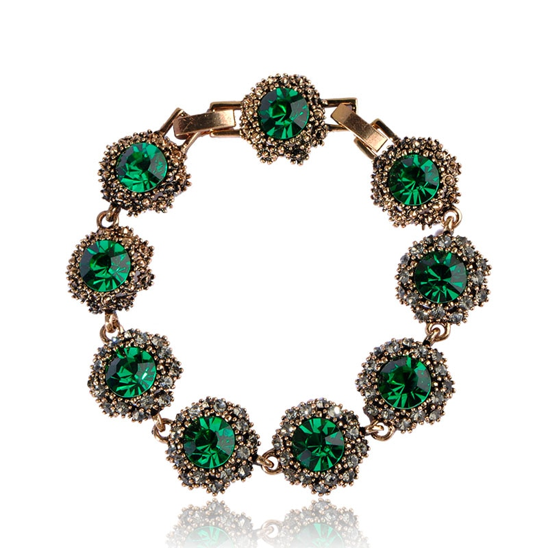 Vintage Turkish Bracelet For Women Rhinestone Crystal Pulseira Femme Bijouteie Blue Green Gem Hot Link Chain Hidden-Safety-Clasp