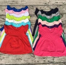 T-shirt manches chapeau perle   Vêtements pour enfants boutique, en gros, top casquette, robe avec des perles, solide et mignon filles