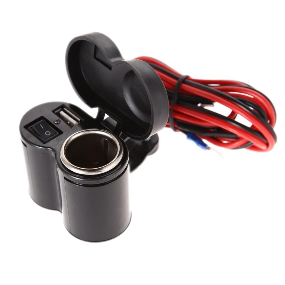 12-24V 1,2 m encendedor de motocicleta Scooter manillar USB abrazadera del cargador impermeable USB Luz cargador de motocicleta estilo de coche