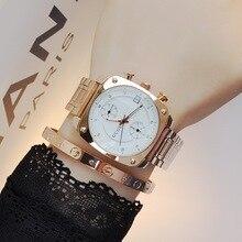 2016 Style de mode marque horloge dames de luxe en or bracelet en acier carré cadran Quartz femme calendrier robe montres Relojes mujer