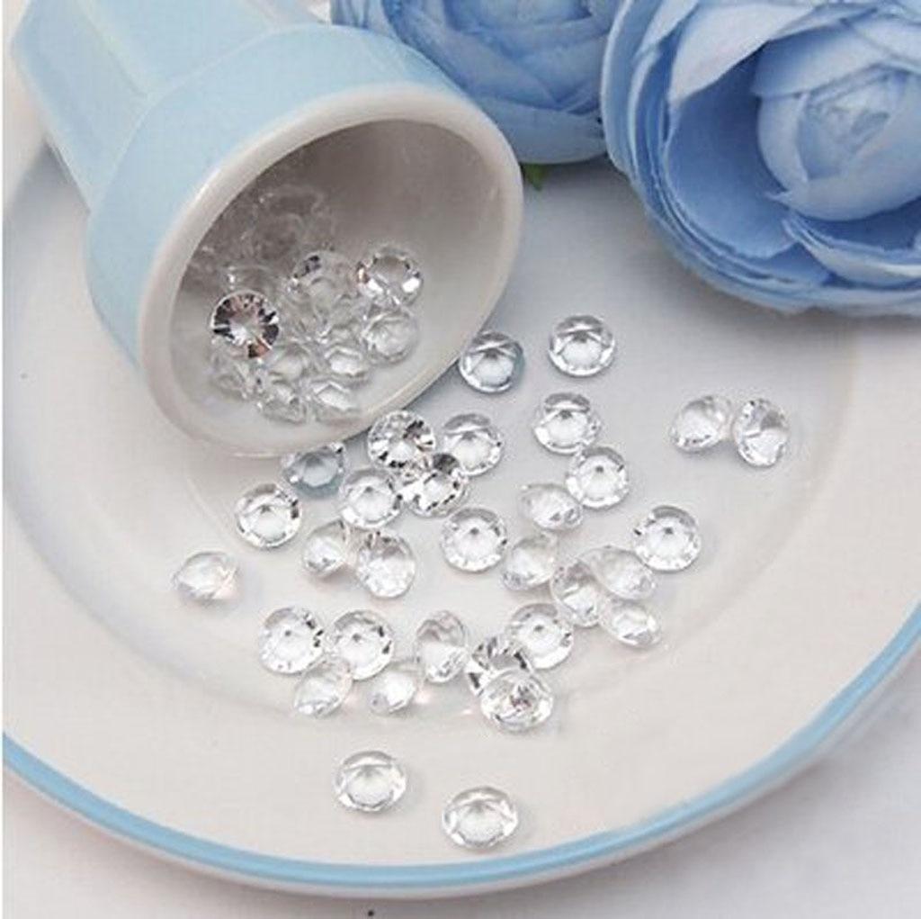 Confeti de diamantes acrílicos de 10mm, 200 Uds., decoración para fiesta de boda, artesanías DIY, confeti de diamantes para mesa, cristal transparente, al por mayor