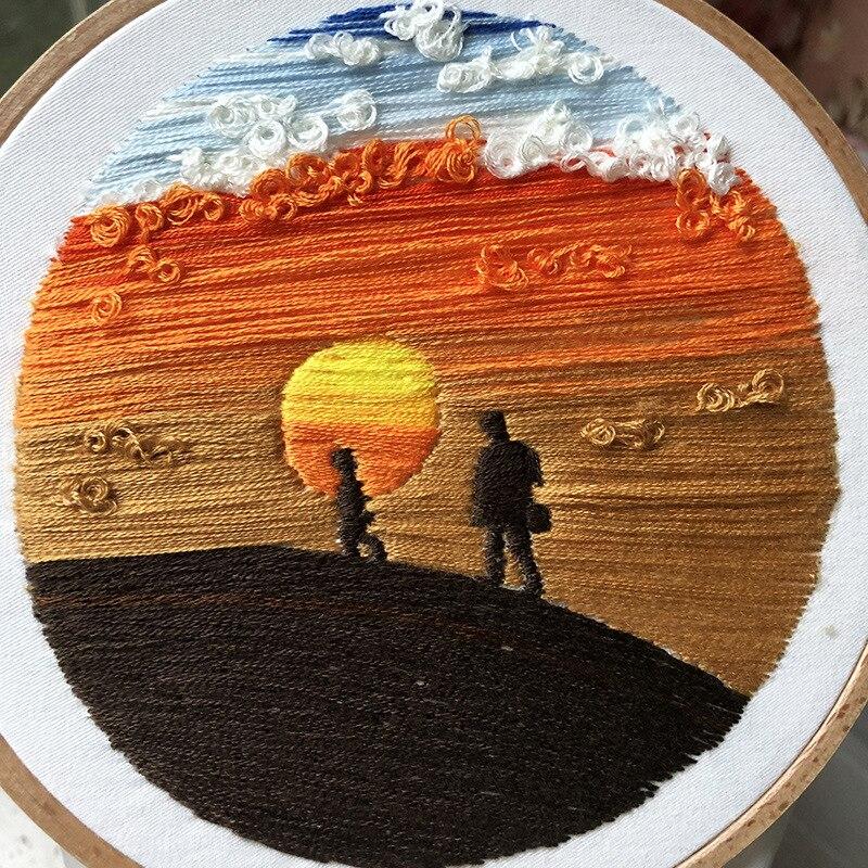 Hermoso Paisaje Material de bordado paquete 3D bordado costura DIY conjunto artesanía principiante Cruz puntada Kit de decoración