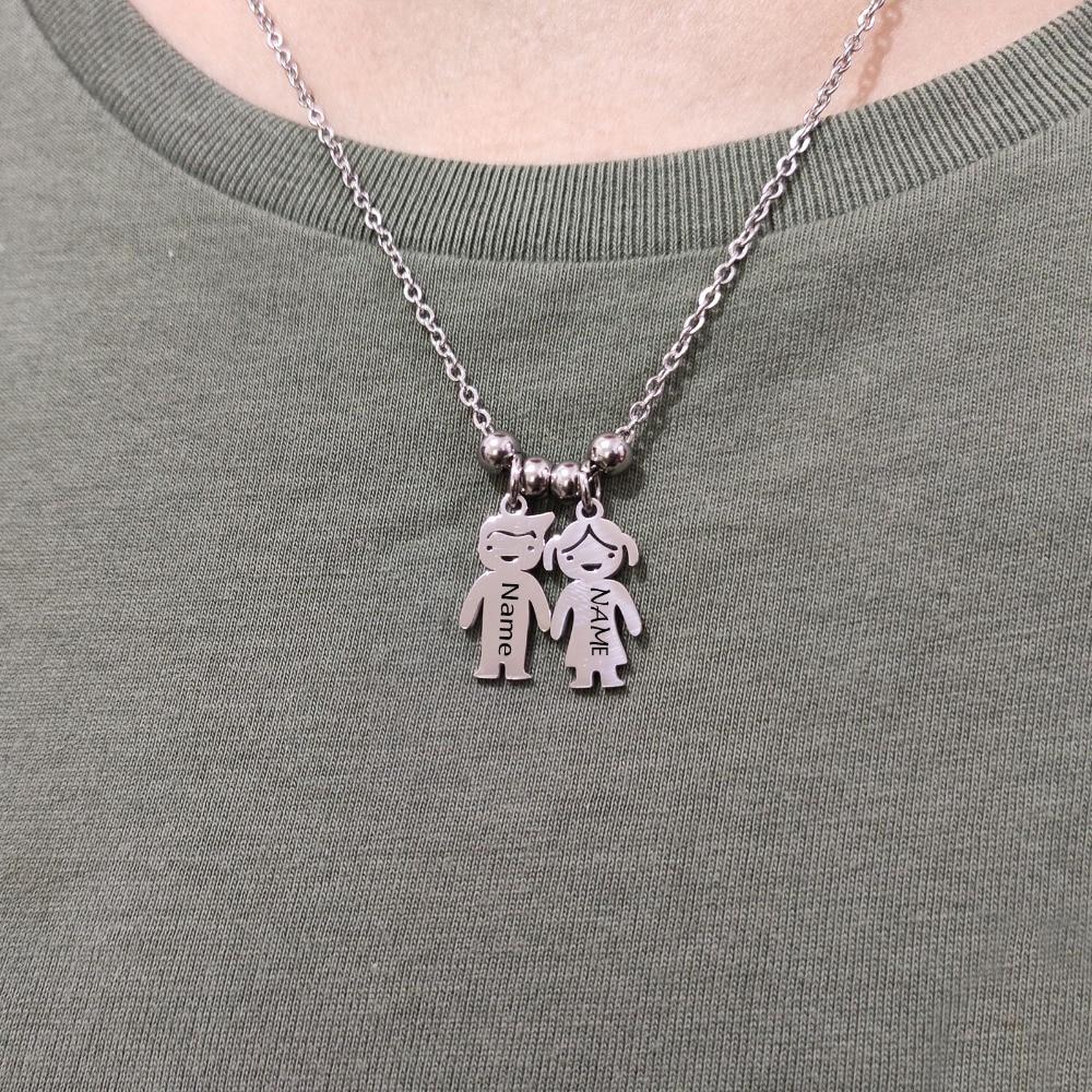 Collar personalizado para bebé niña, collar para chico grabado con nombre de cumpleaños, collares de acero inoxidable personalizados para regalos familiares