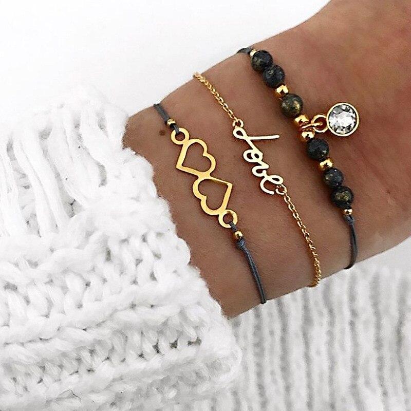 Женский браслет Miss JQ в богемном стиле с двойным сердечком кристаллами браслеты
